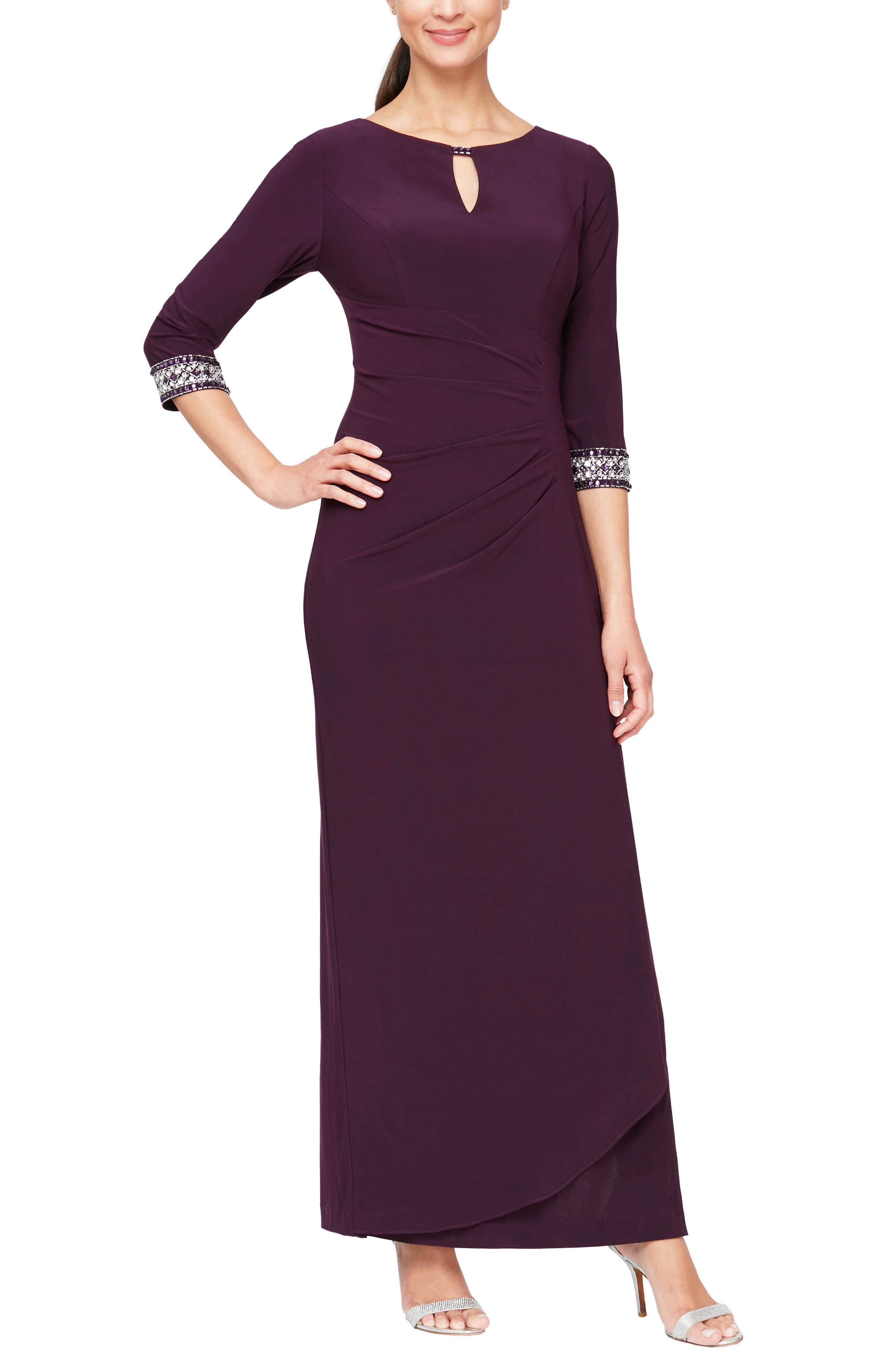 Embellished Side Ruched Gown