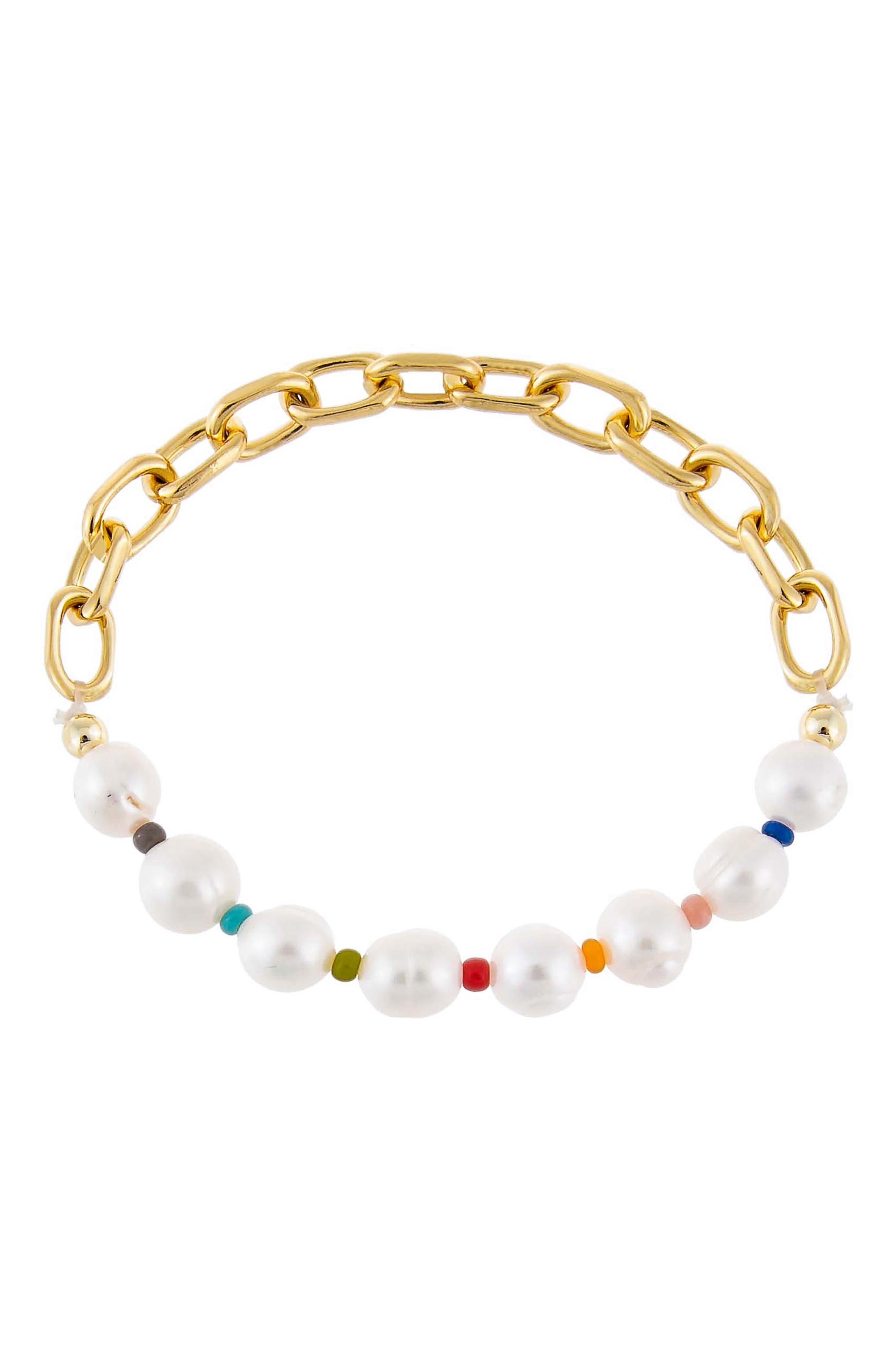 Women's Adina's Jewels Multicolor Pearl X Link Bracelet