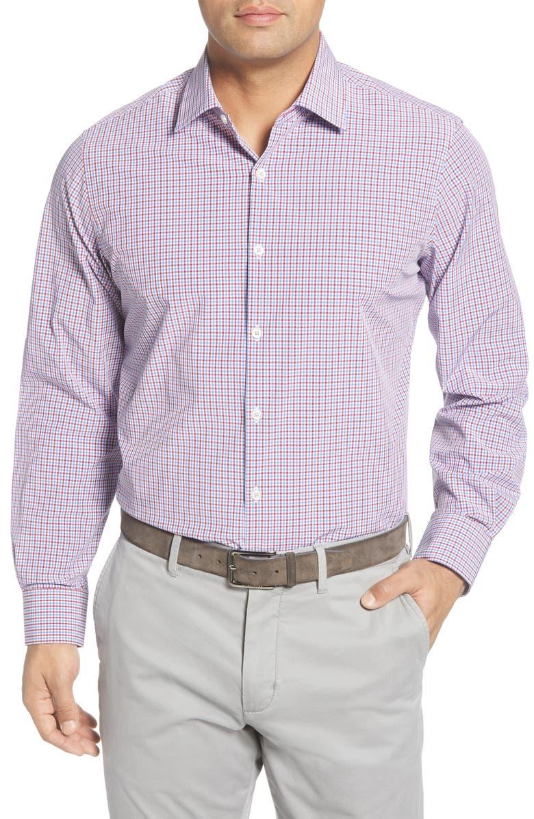 MOVE PERFORMANCE APPAREL Trim Fit Check Button-Up Shirt, Main, color, CRANBERRY