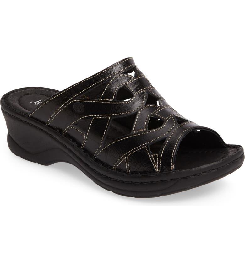JOSEF SEIBEL Catalonia 44 Slide Sandal, Main, color, BLACK LEATHER