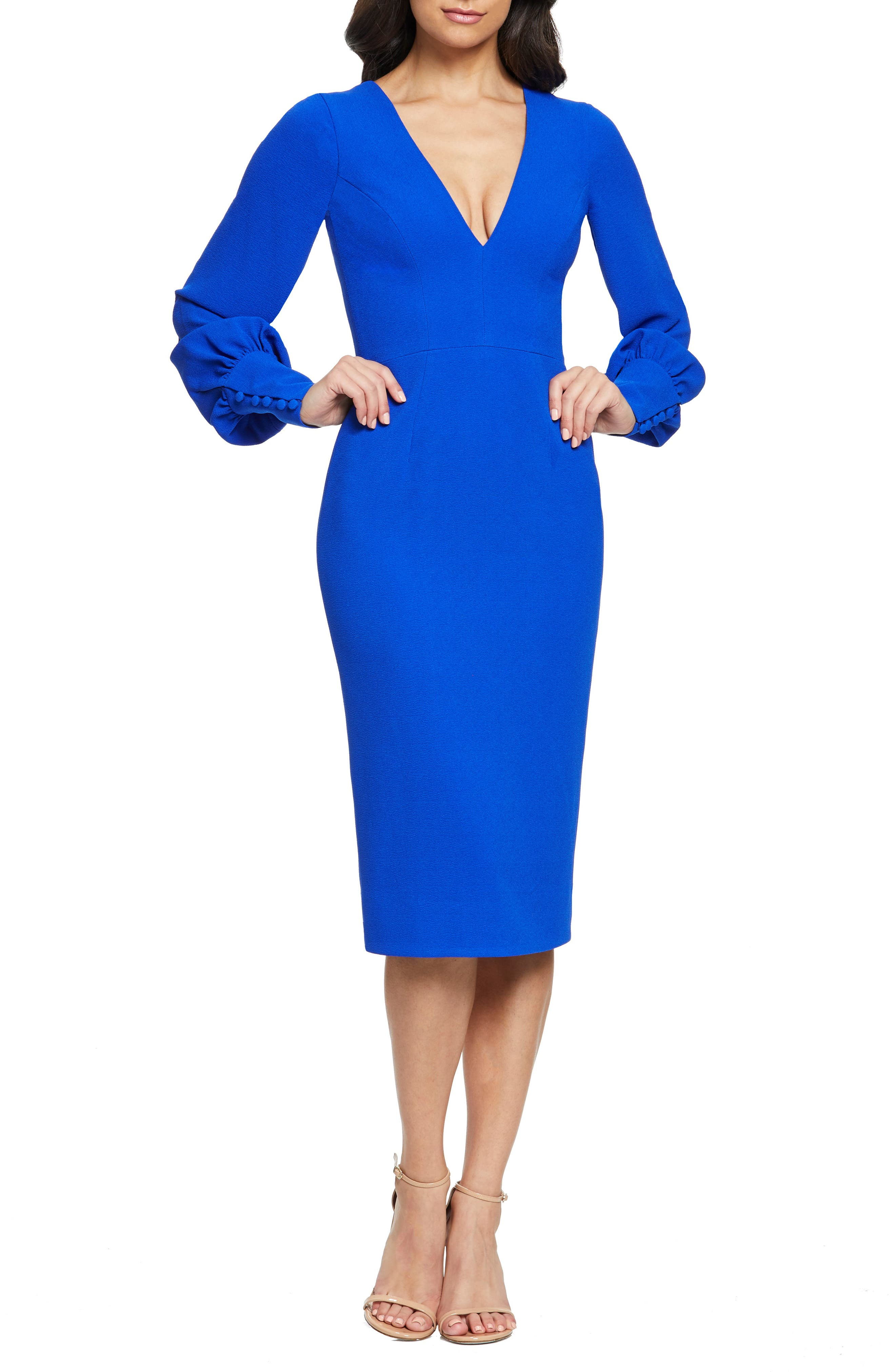 Dress The Population Norah Plunge Body-Con Dress, Blue
