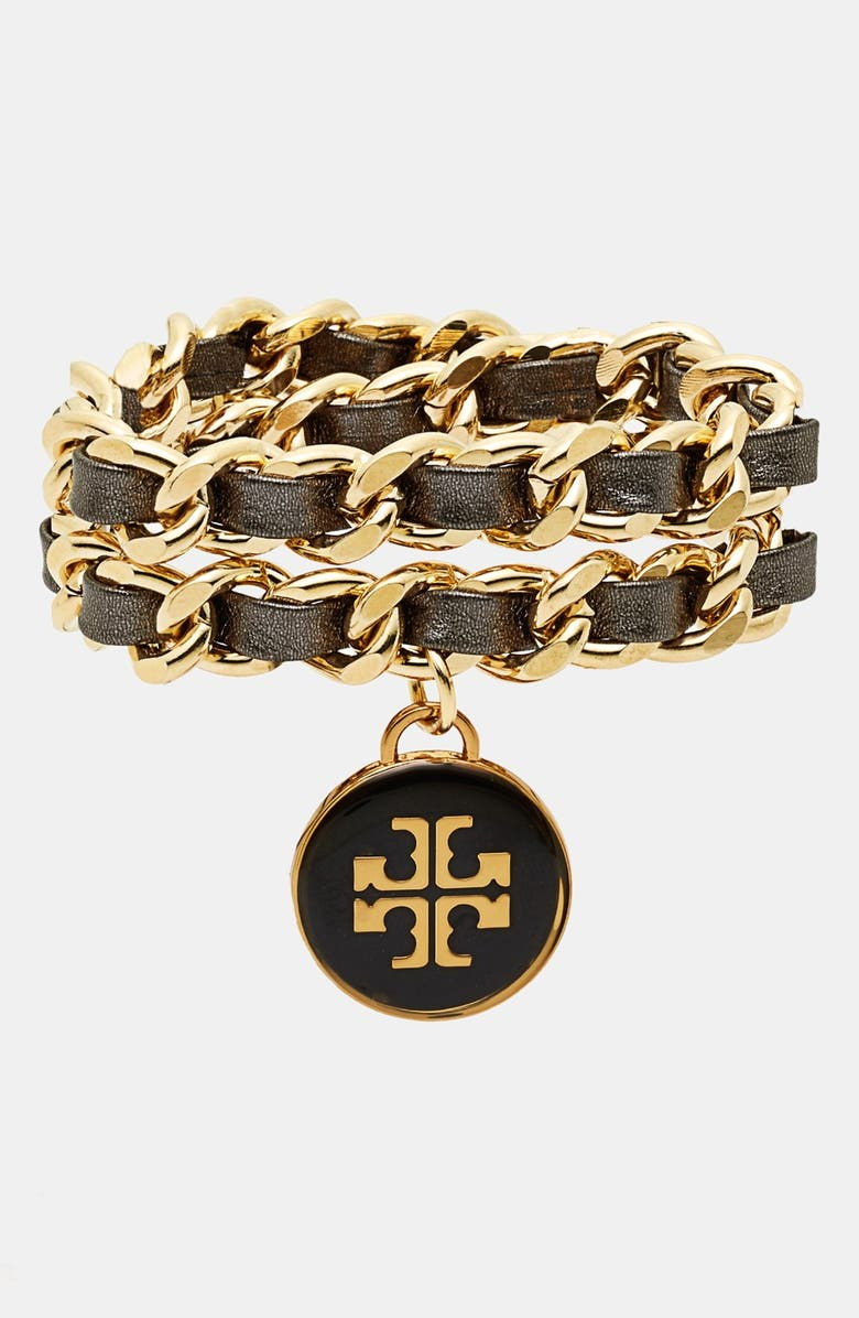 TORY BURCH Leather Woven Chain Wrap Bracelet, Main, color, 001