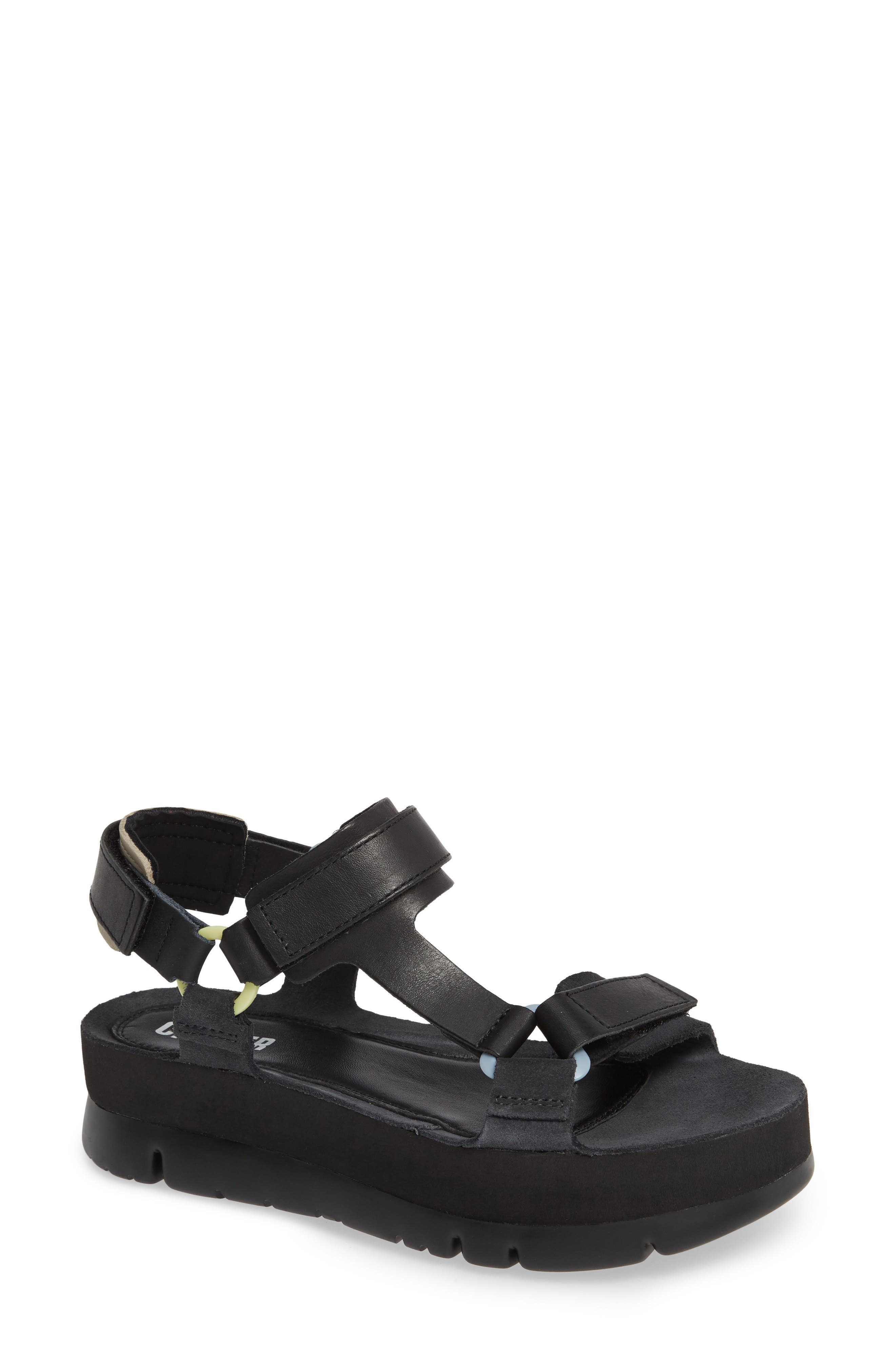 Oruga Up Platform Sport Sandal, Main, color, BLACK