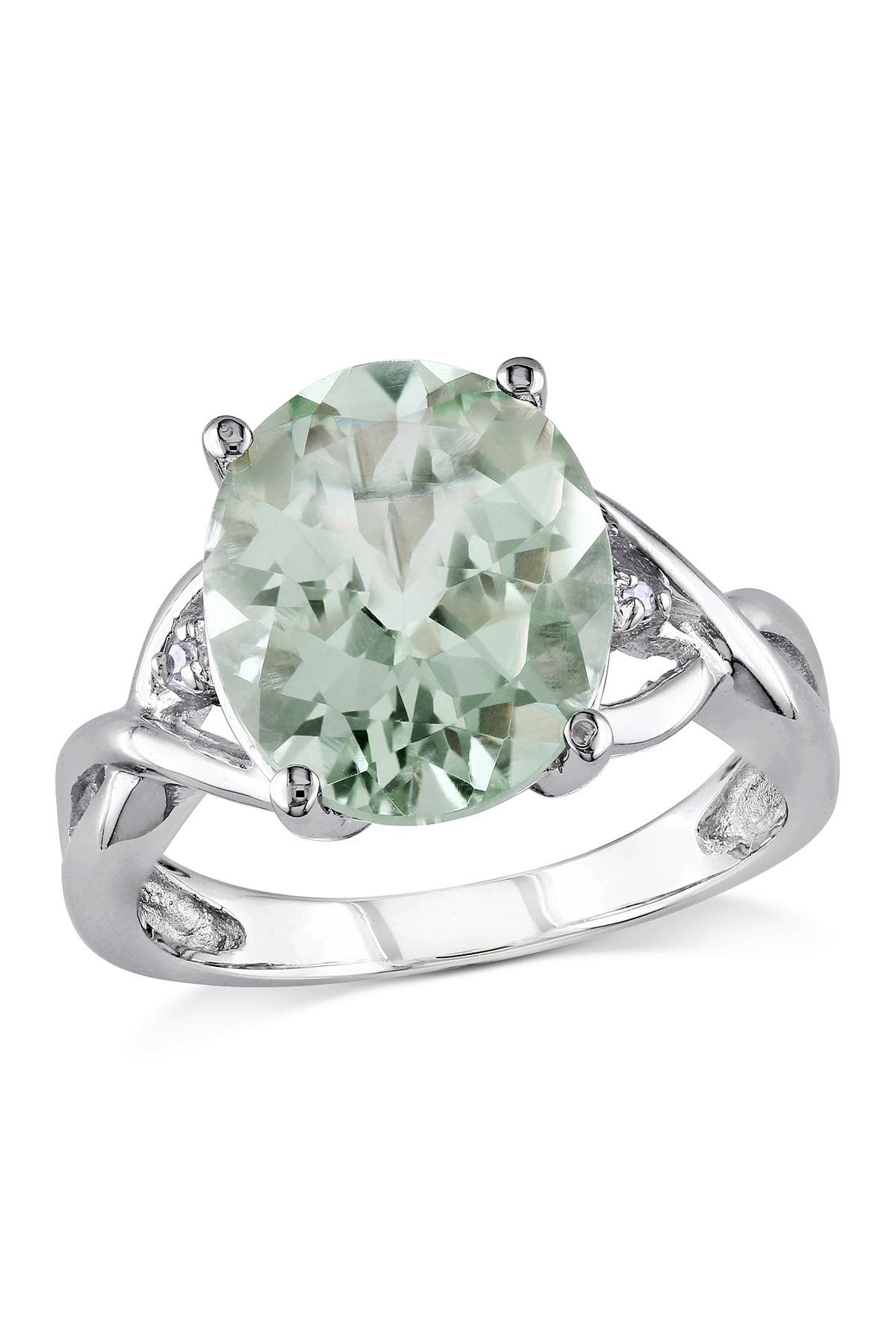 Image of Delmar Sterling Silver Oval Green Amethyst & Diamond Accent Ring