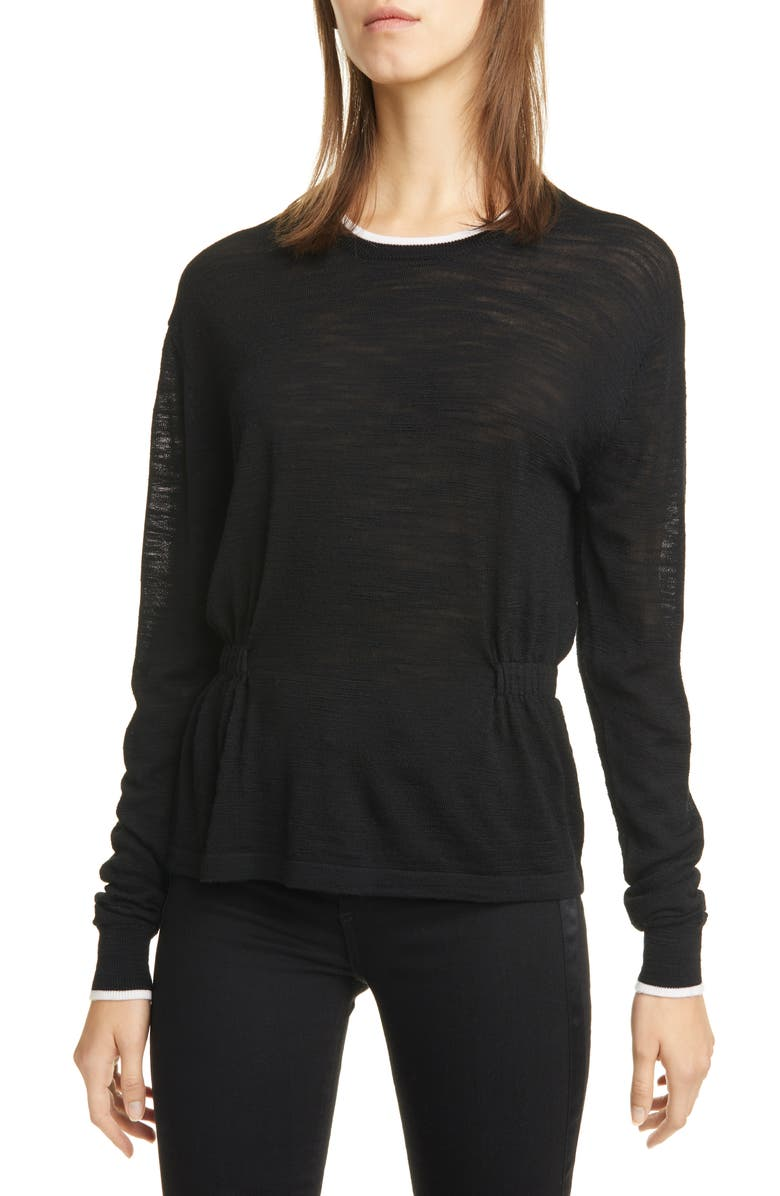 VERONICA BEARD Charlene Cinched Merino Wool Sweater, Main, color, BLACK
