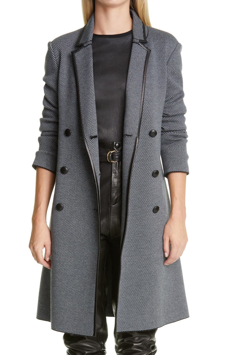 ST. JOHN COLLECTION Graphic Twill Knit Coat, Main, color, GREY MELANGE/ CAVIAR