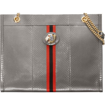 Gucci Large Linea Rajah Genuine Python Tote - Grey