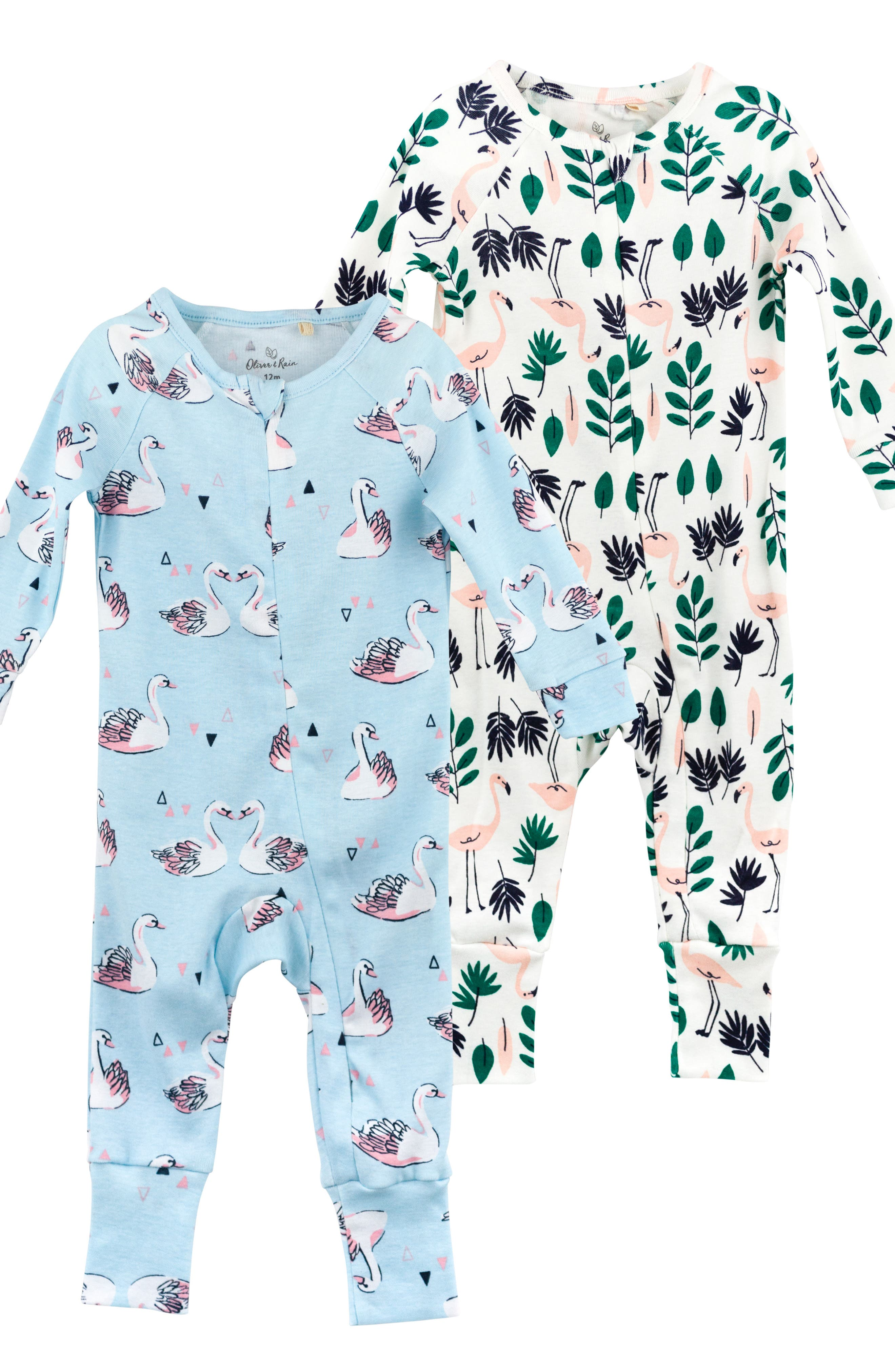 Infant Girls Oliver  Rain 2Pack Organic Cotton Fitted OnePiece Pajamas