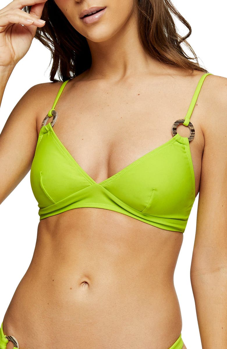 TOPSHOP Triangle Bikini Top, Main, color, LIME GREEN