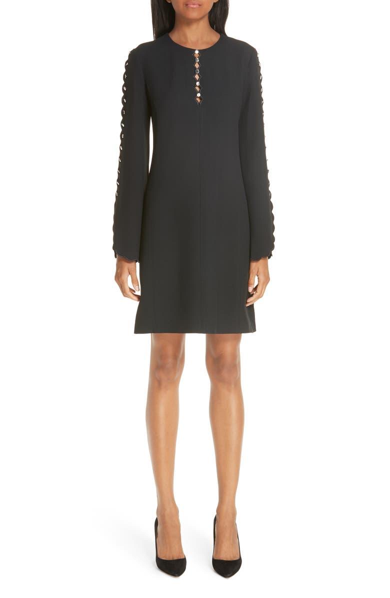 MICHAEL KORS Scallop Button Detail Double Crepe Sable Shift Dress, Main, color, 001