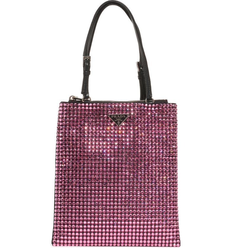 PRADA Crystal Embellished Crossbody Bag, Main, color, ROSA