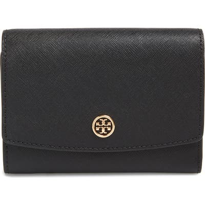 Tory Burch Robinson Medium Trifold Wallet - Black