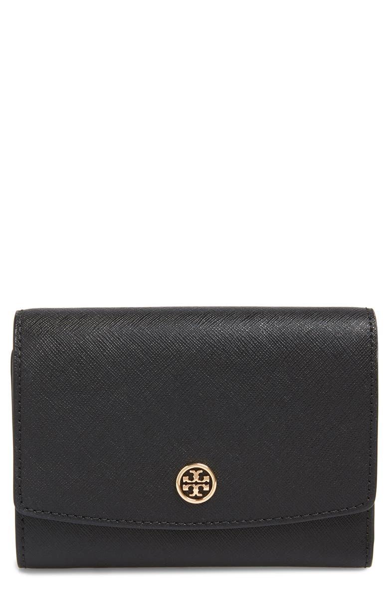 TORY BURCH Robinson Medium Trifold Wallet, Main, color, BLACK