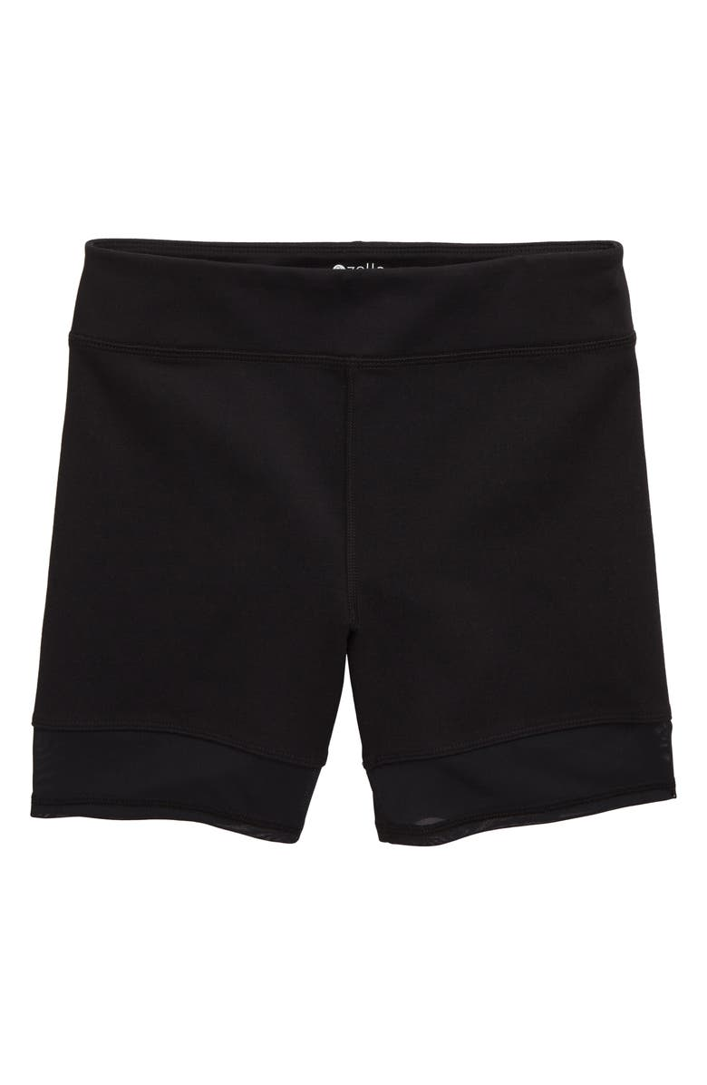 ZELLA GIRL Mesh Trim Bike Shorts, Main, color, BLACK