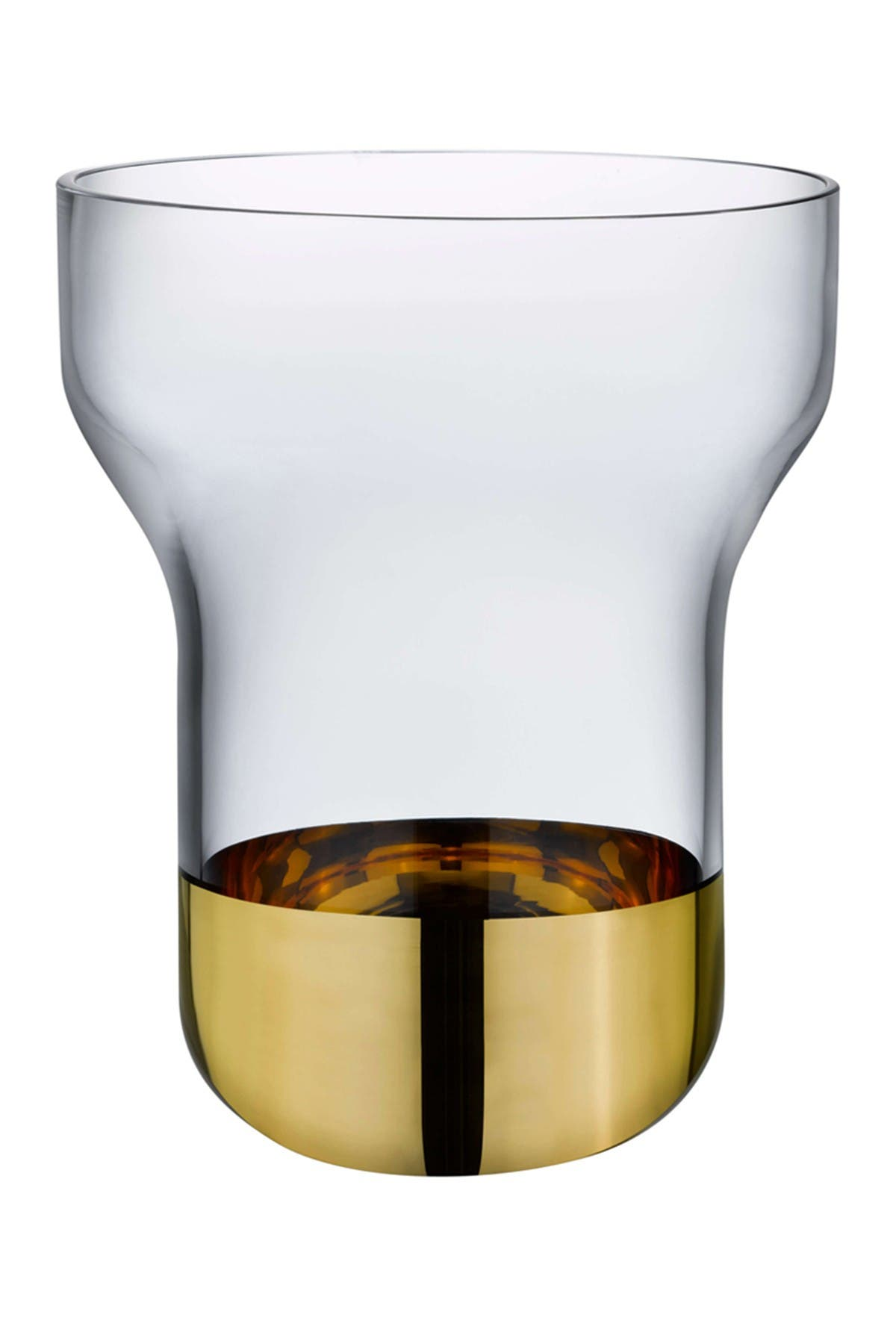 Image of Nude Glass Contour Vase - Wide with Clear Top and Golden Base
