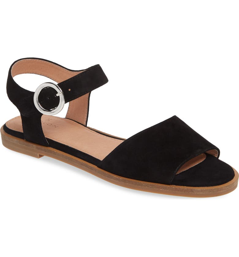 CASLON<SUP>®</SUP> Maddie Flat Sandal, Main, color, BLACK SUEDE