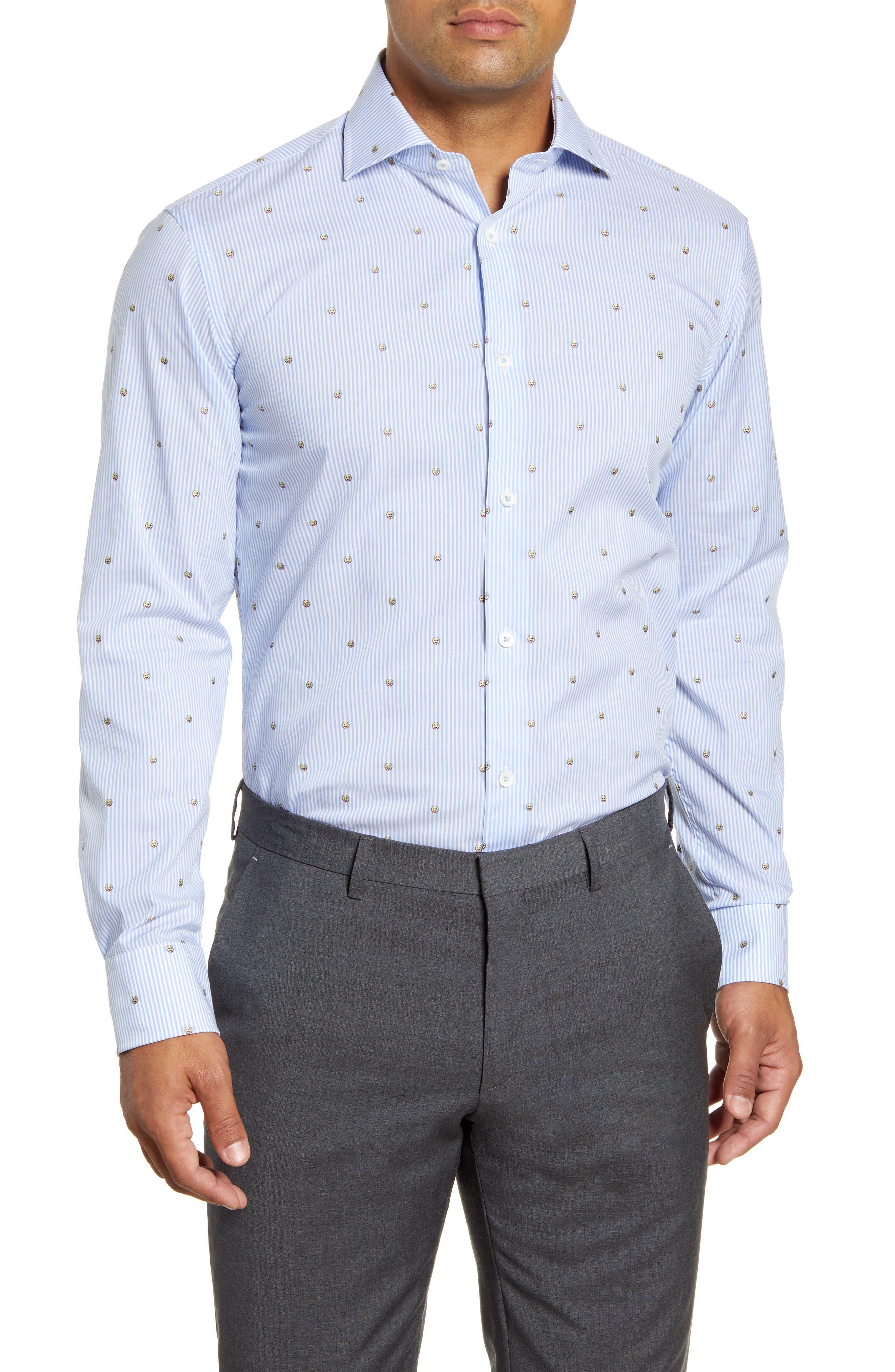 men's big & tall bugatchi trim fit emoji print dress shirt, size 18 - blue