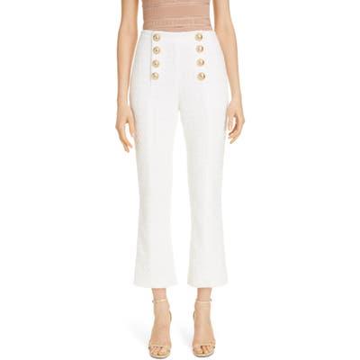 Balmain Button Detail Cotton Blend Tweed Crop Flare Pants, US / 40 FR - White