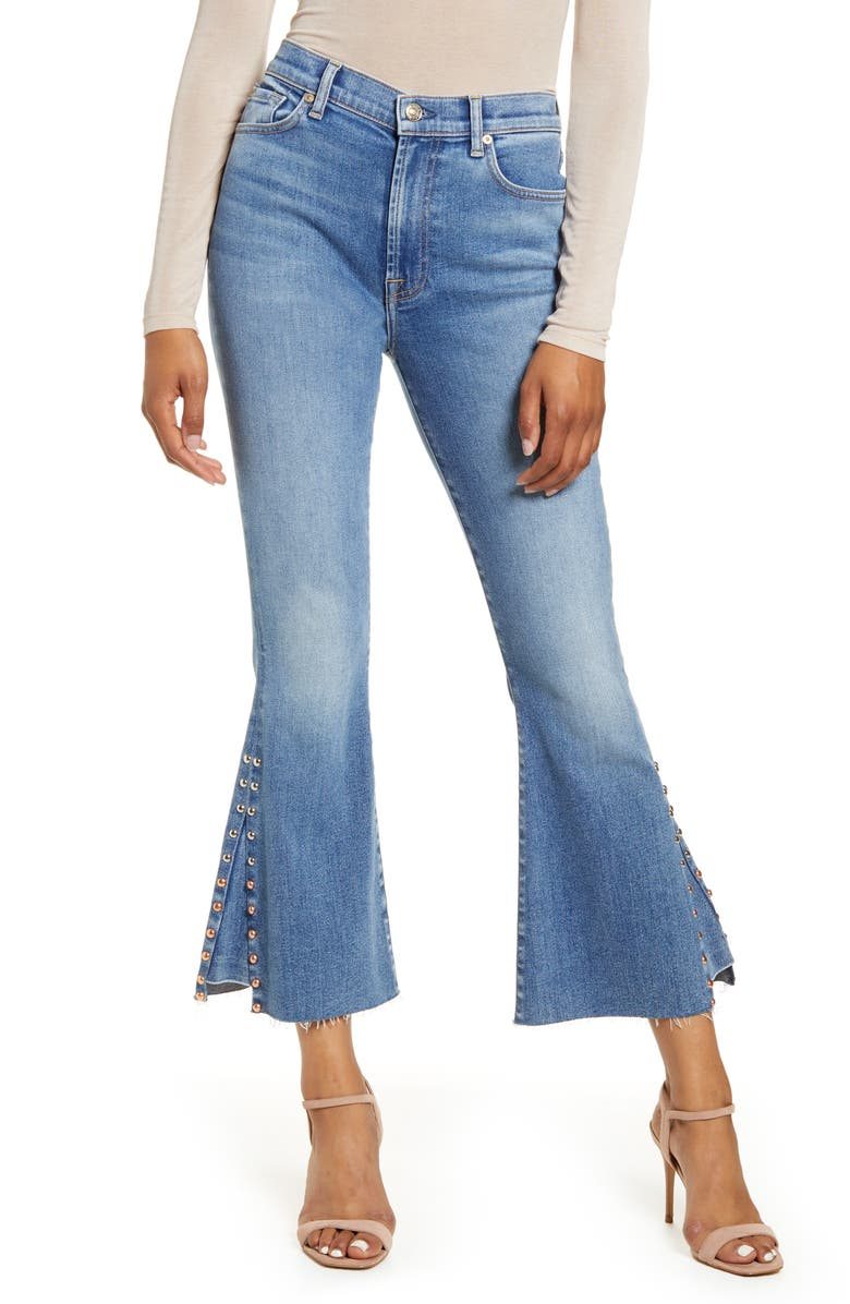 7 FOR ALL MANKIND<SUP>®</SUP> High Waist Stud Detail Kick Flare Ankle Jeans, Main, color, 400