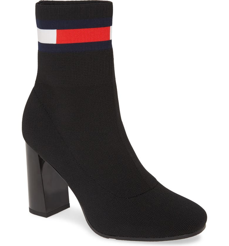 TOMMY JEANS Zainab Sock Bootie, Main, color, BLACK