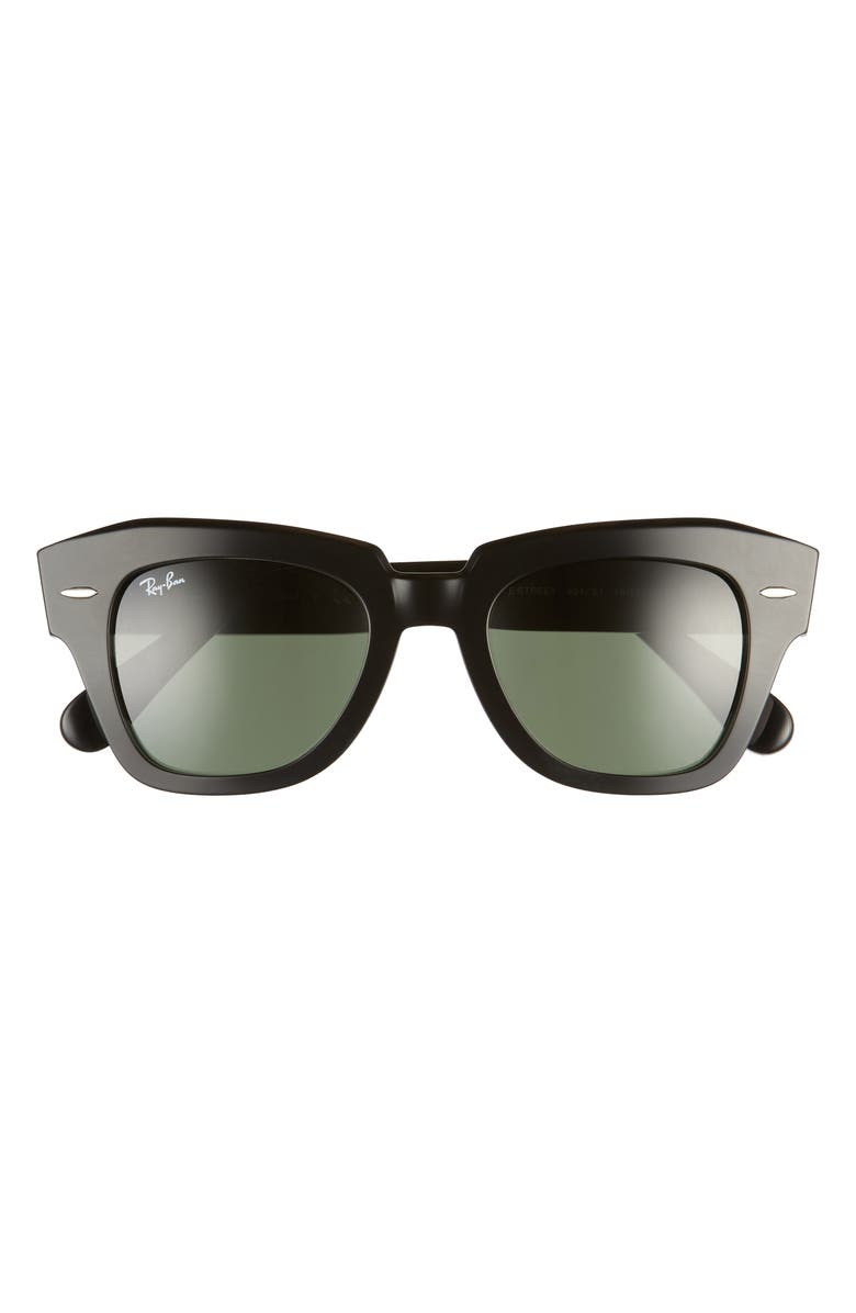 RAY-BAN State Street 49mm Square Sunglasses, Main, color, BLACK/ GREEN SOLID