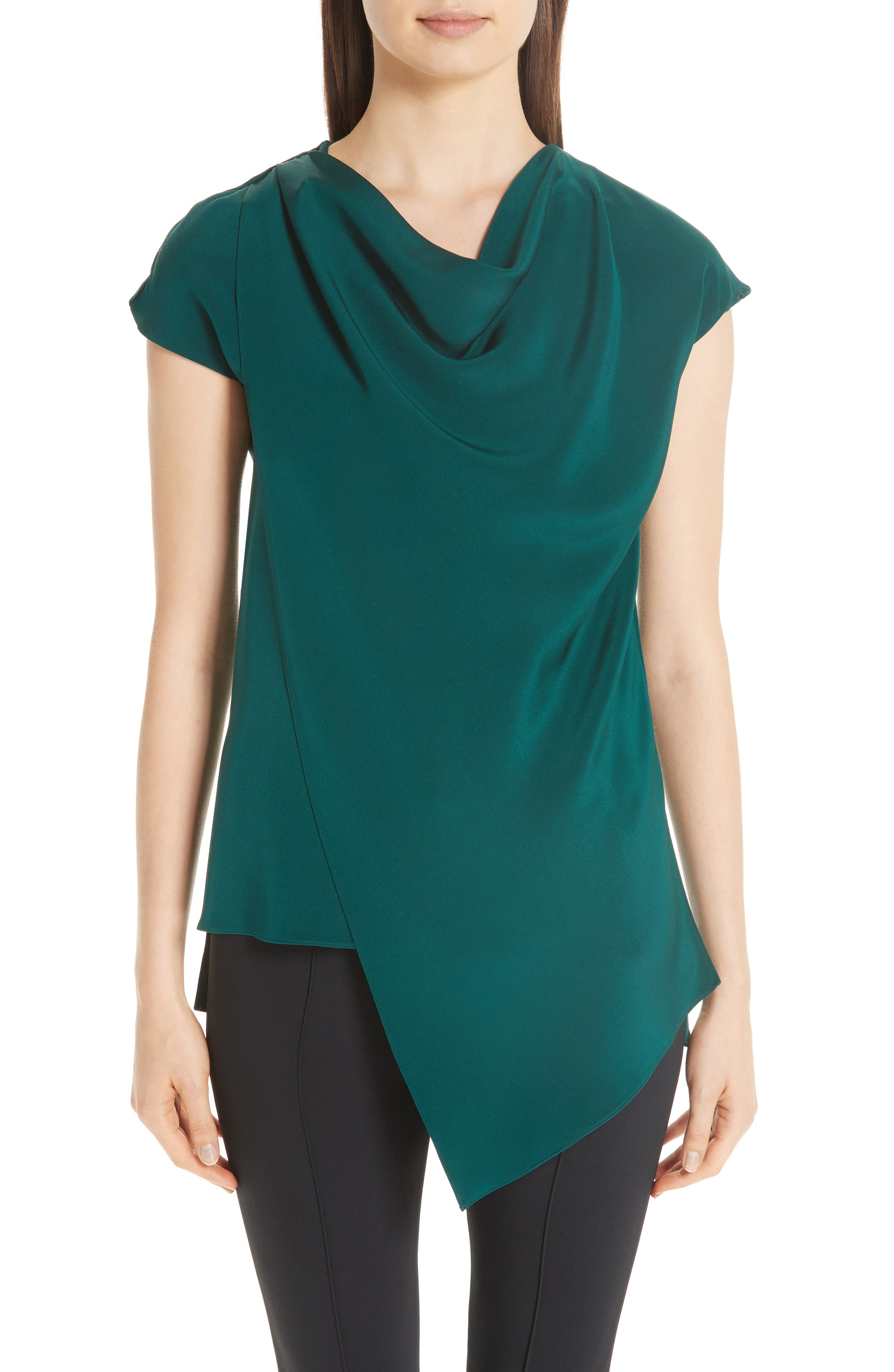 women's adam lippes silk crepe cowl neck blouse, size 0 - green