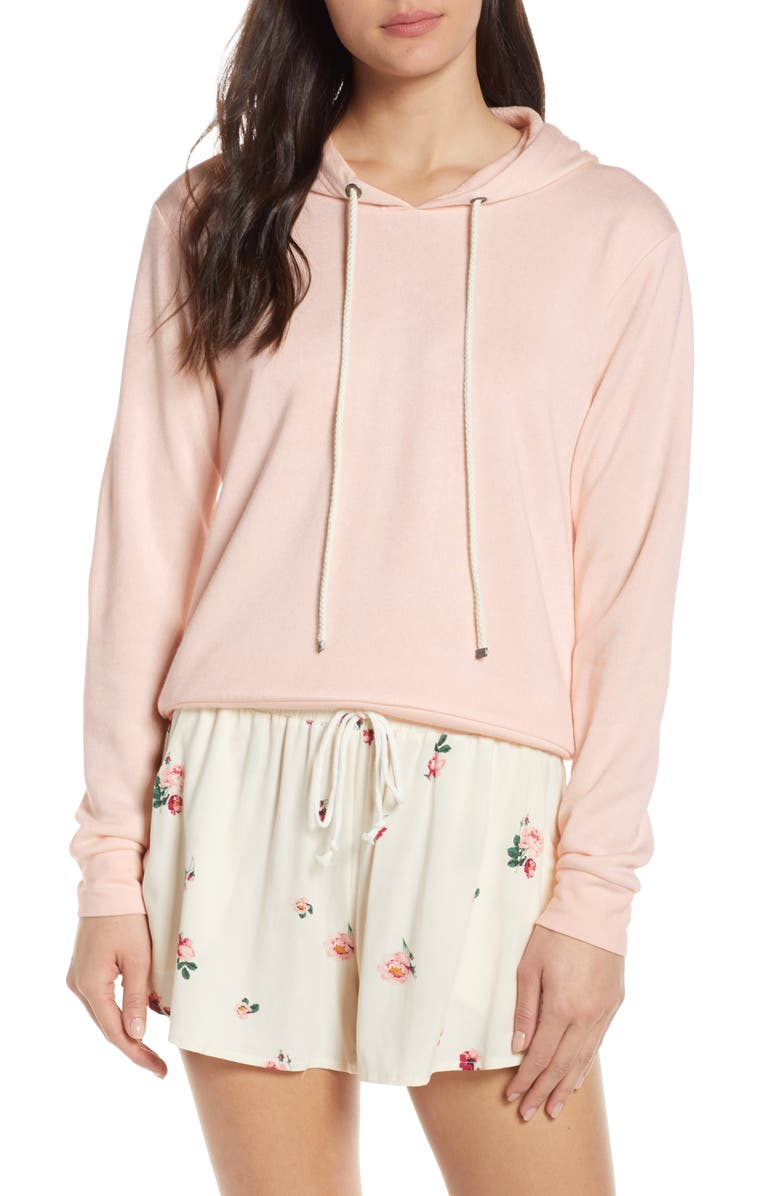 MAKE + MODEL Slumber Party Lounge Hoodie, Main, color, PINK PEONY BUD