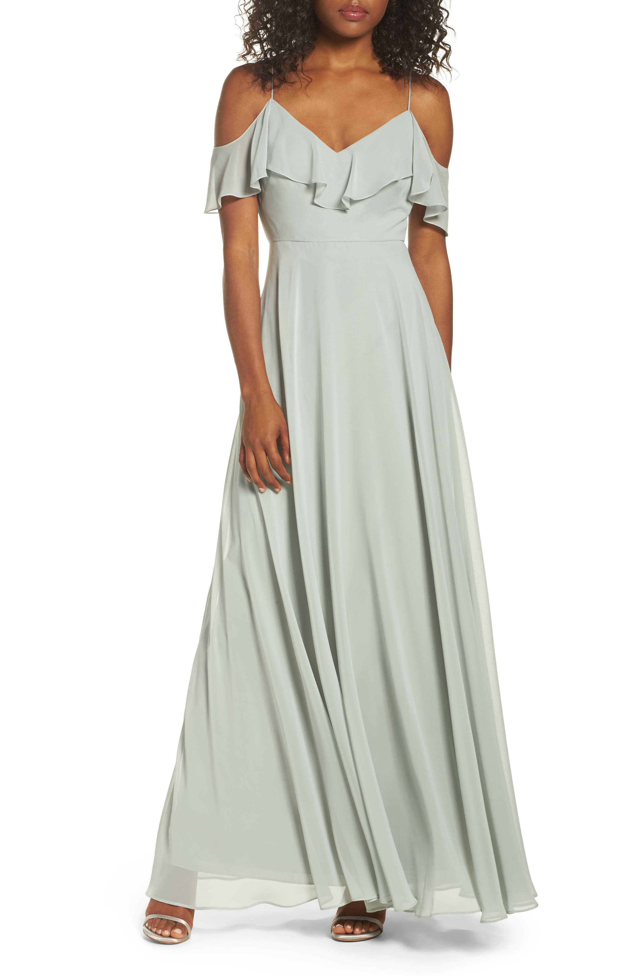 Jenny Yoo Cold Shoulder Chiffon Gown, Green