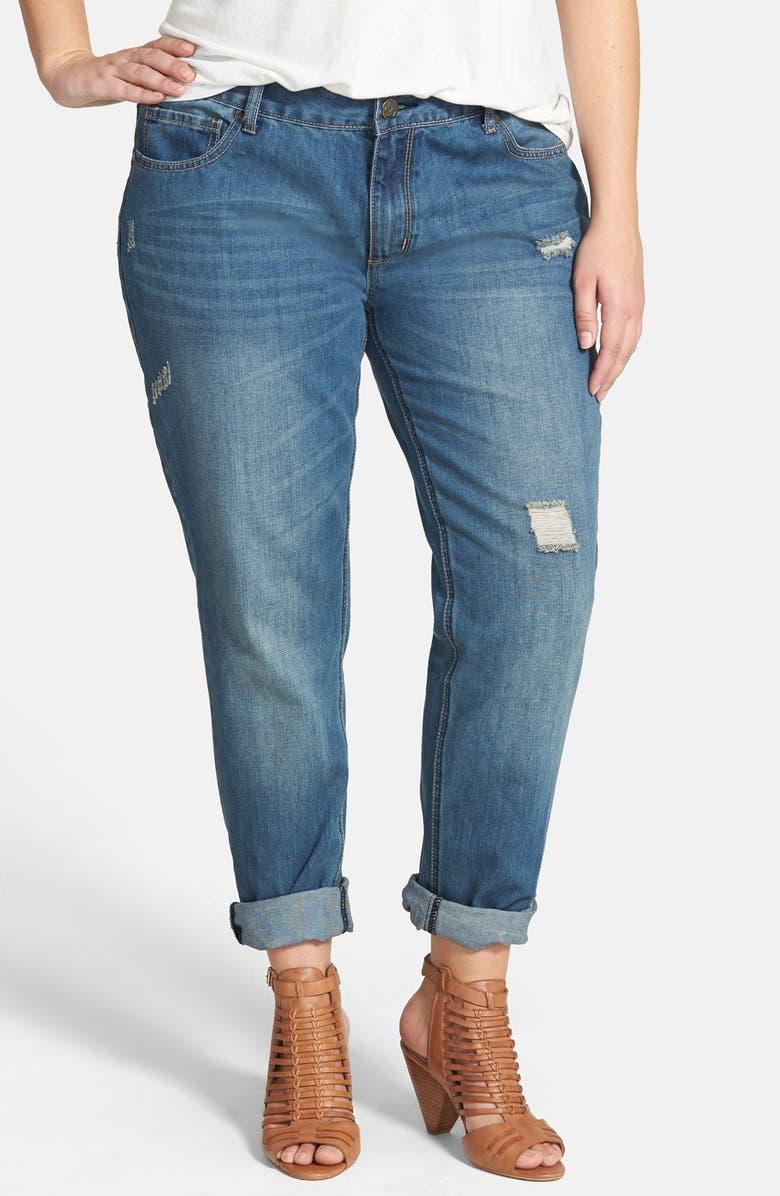 CITY CHIC Distressed Boyfriend Jeans, Main, color, 420