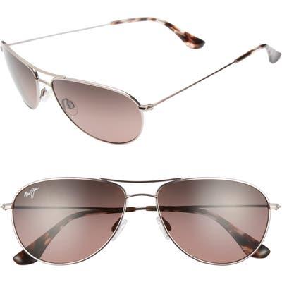 Maui Jim Sea House 60Mm Polarized Titanium Aviator Sunglasses - Rose Gold/ Maui Rose