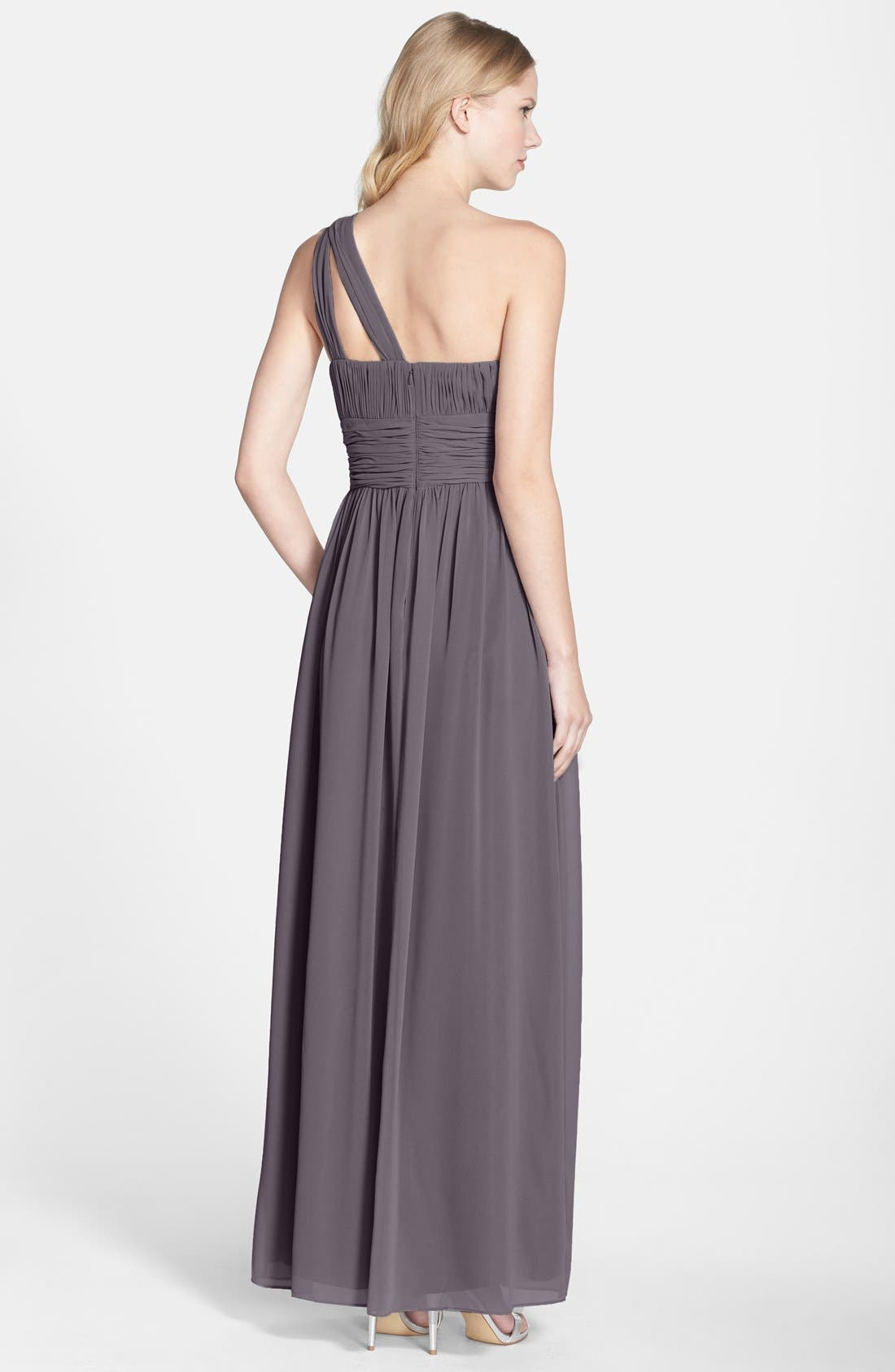 ,                             'Rachel' Ruched One-Shoulder Chiffon Gown,                             Alternate thumbnail 22, color,                             054