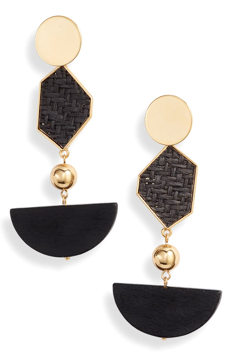 ETTIKA Geometric Drop Earrings, Main, color, BLACK