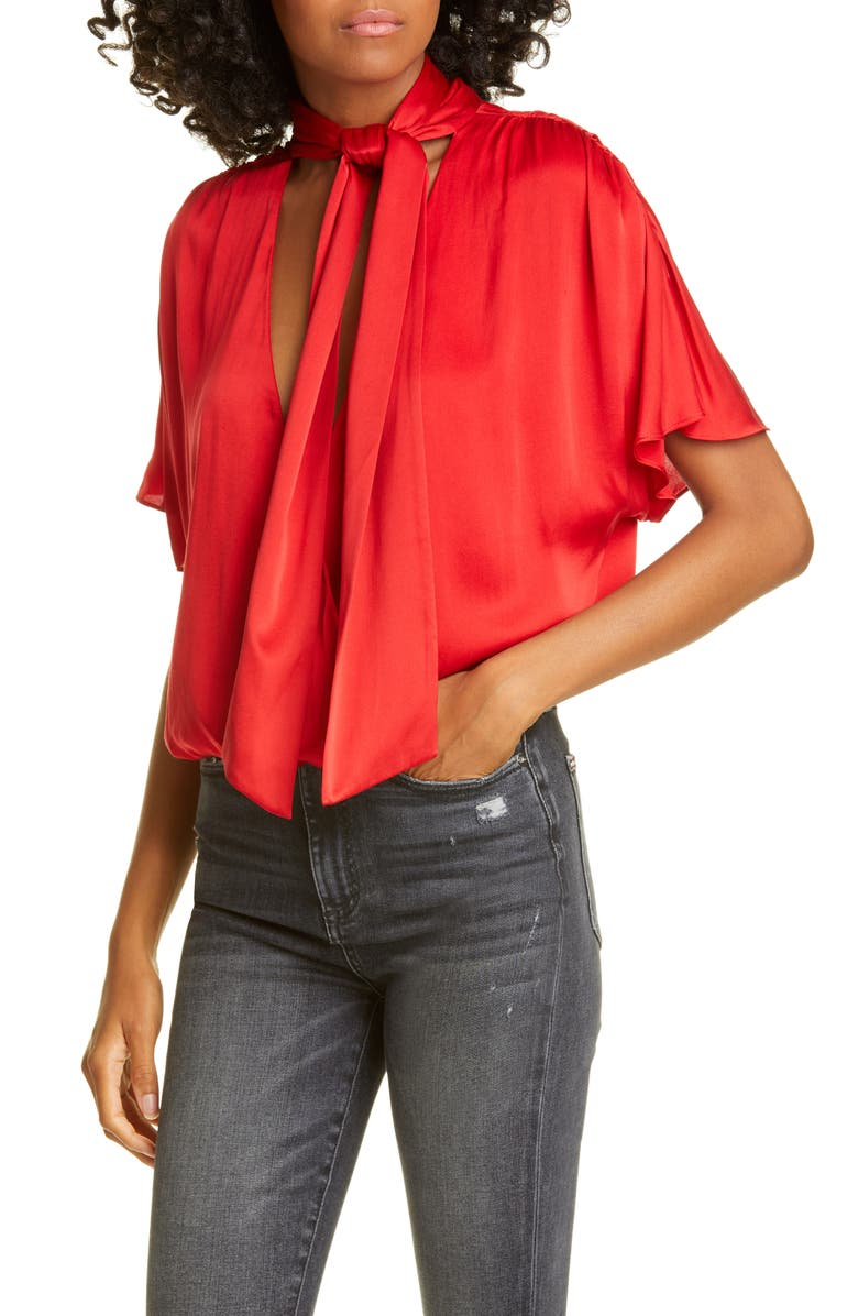 ALICE + OLIVIA Livvy Tie Neck Wrap Front Stretch Silk Blouse, Main, color, RUBY