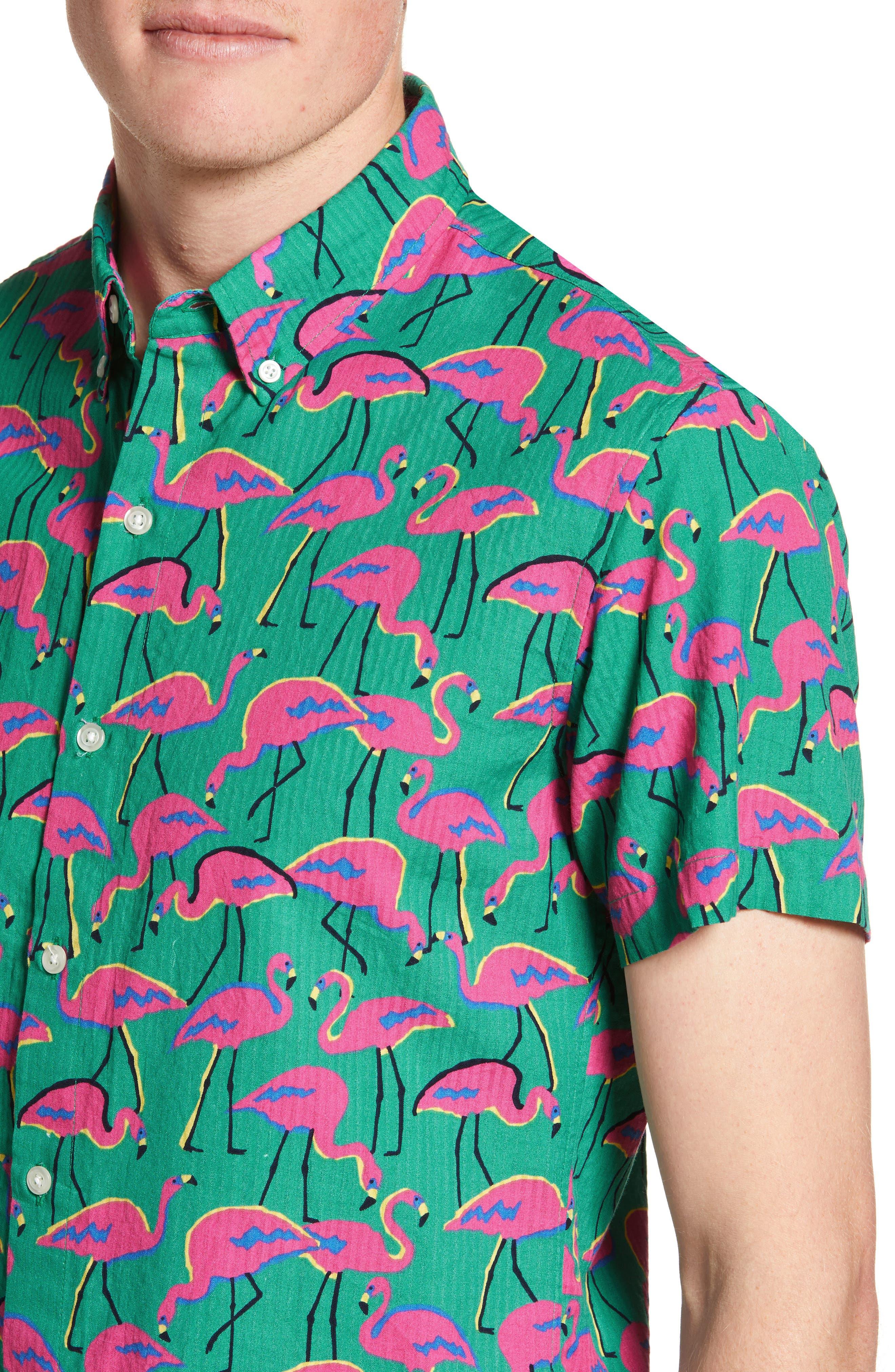 ,                             Riviera Slim Fit Flamingo Print Sport Shirt,                             Alternate thumbnail 2, color,                             LOOK FLAMINGOS