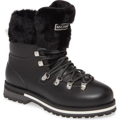 Michael Michael Kors Lanis Faux Fur Trim Waterproof Lace-Up Boot, Black