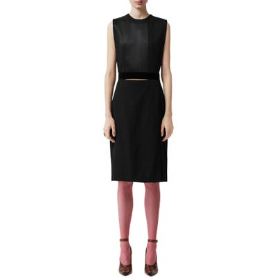 Burberry Sleeveless Panel Skirt Detail Dress, Black