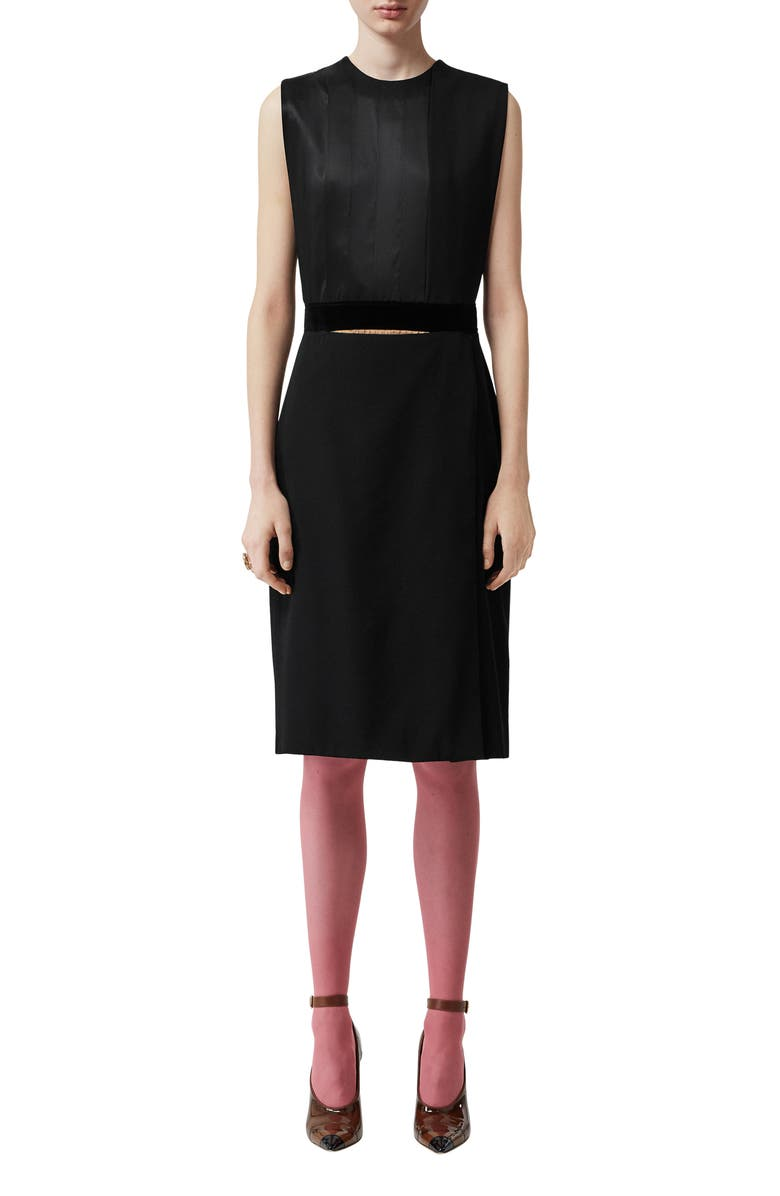 BURBERRY Sleeveless Panel Skirt Detail Dress, Main, color, BLACK