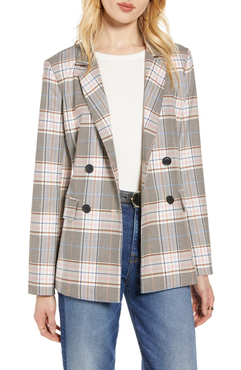 HALOGEN<SUP>®</SUP> Plaid Double-Breasted Blazer, Main, color, BLACK MULTI PLAID