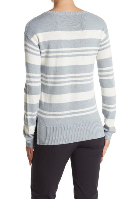 Image of PUMA Striped Crew Neck Pullover Sweater