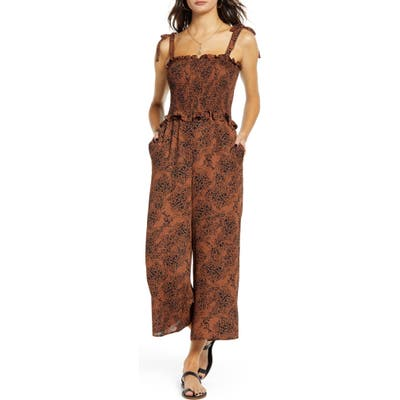 Socialite Smocked Bodice Wide Leg Jumpsuit, Black
