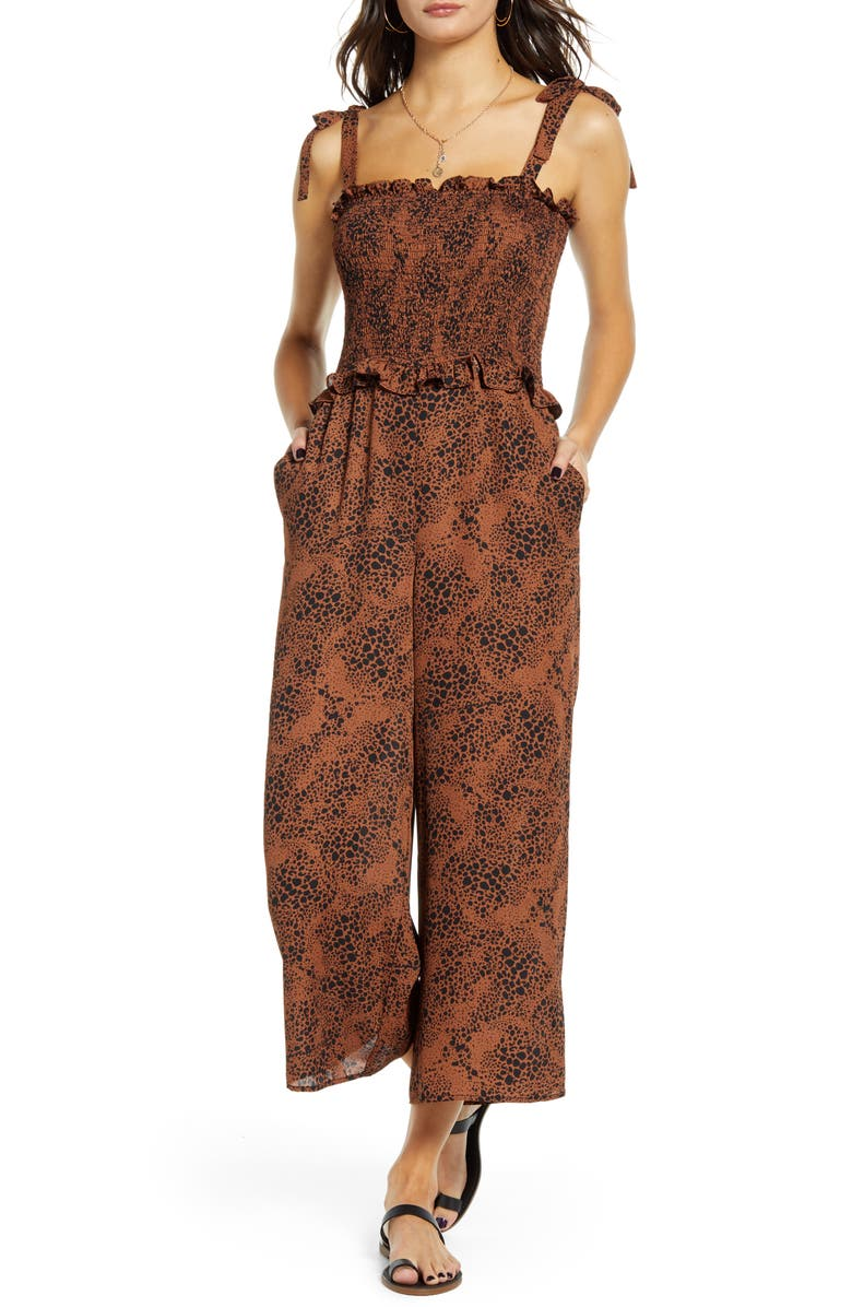 SOCIALITE Smocked Bodice Wide Leg Jumpsuit, Main, color, COFFEE BLACK PRINT