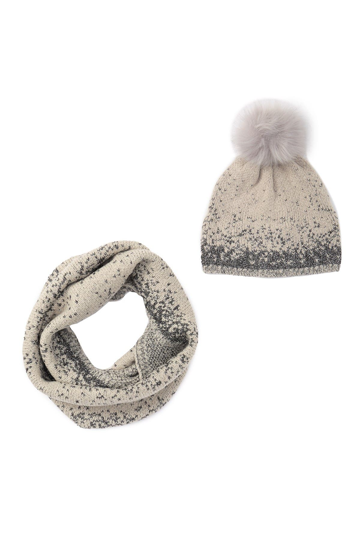Aneco Womens Winter Warm Sets Knitted Fur Pompoms Beanie Hat Circle Loop Scarf Touch Screen Gloves Winter Favor Accessories