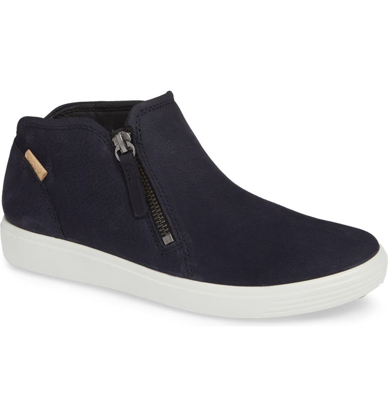 ECCO Soft 7 Mid Top Sneaker, Main, color, NIGHT SKY NUBUCK LEATHER