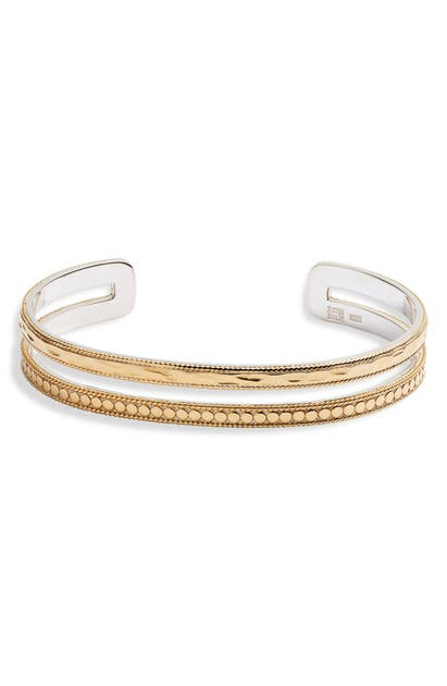Anna Beck Mixed Double Band Cuff In Gold