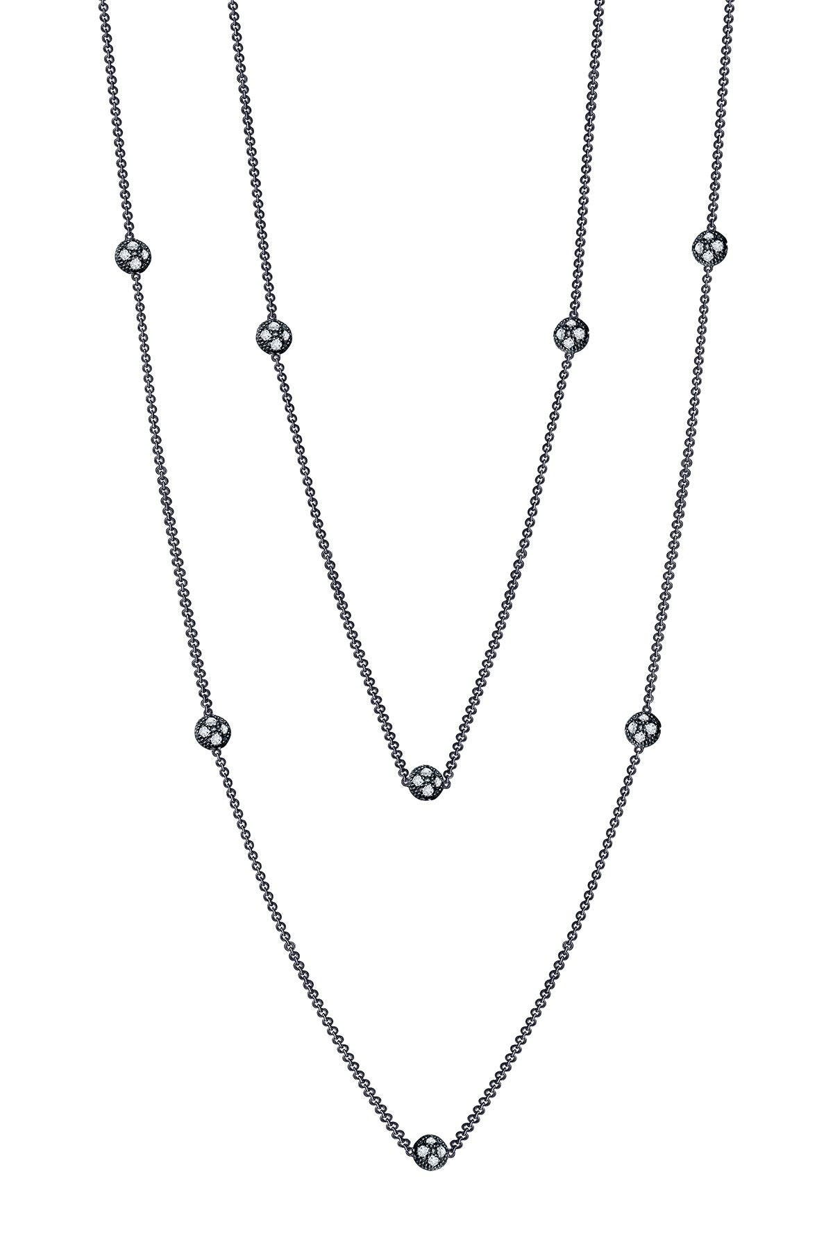 Image of LaFonn Black Rhodium Plated Sterling Silver Simulated Diamond Micro Pave Dots Necklace - 0.78 ctw