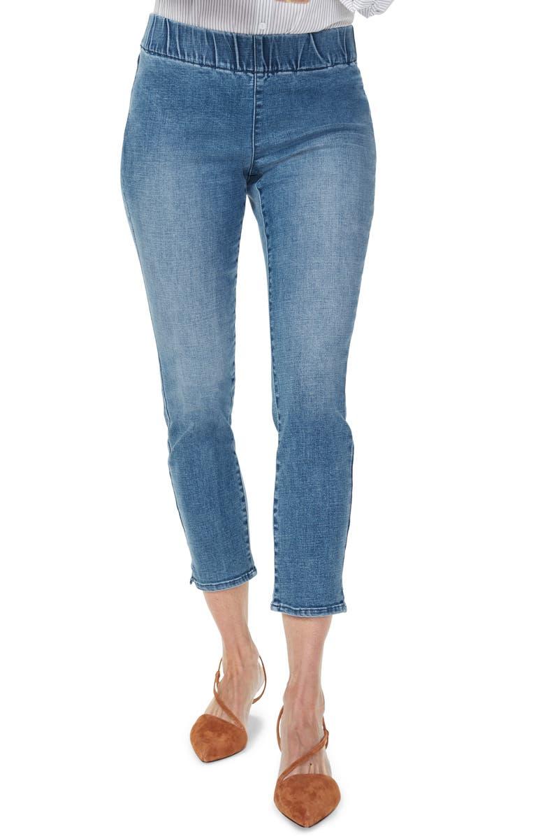 NYDJ Pull-On Ankle Slit Skinny Jeans, Main, color, CLEAN BRICKELL