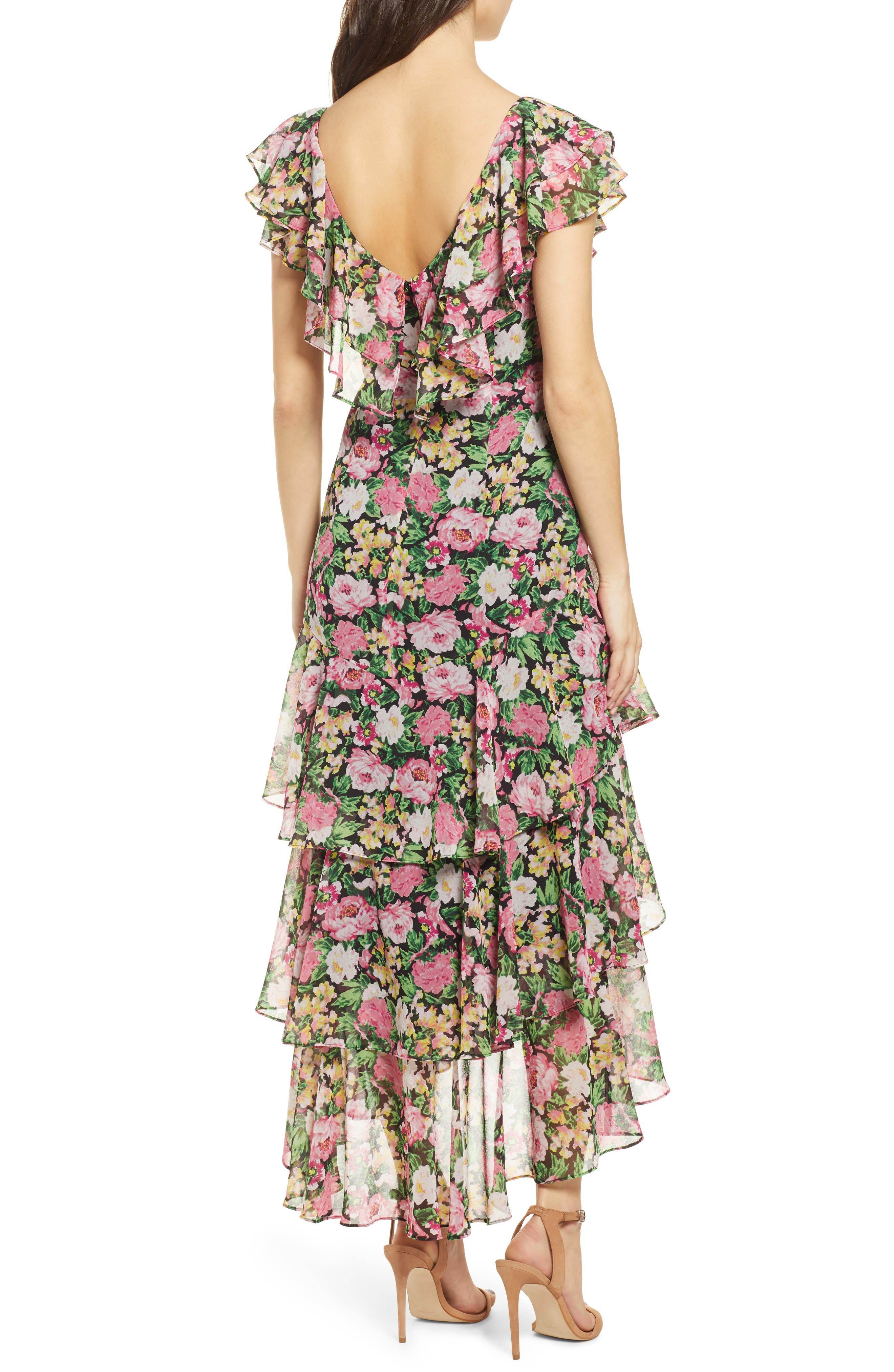 ,                             Chelsea Tiered Ruffle Maxi Dress,                             Alternate thumbnail 2, color,                             BLACK PINK ROSES PRINT