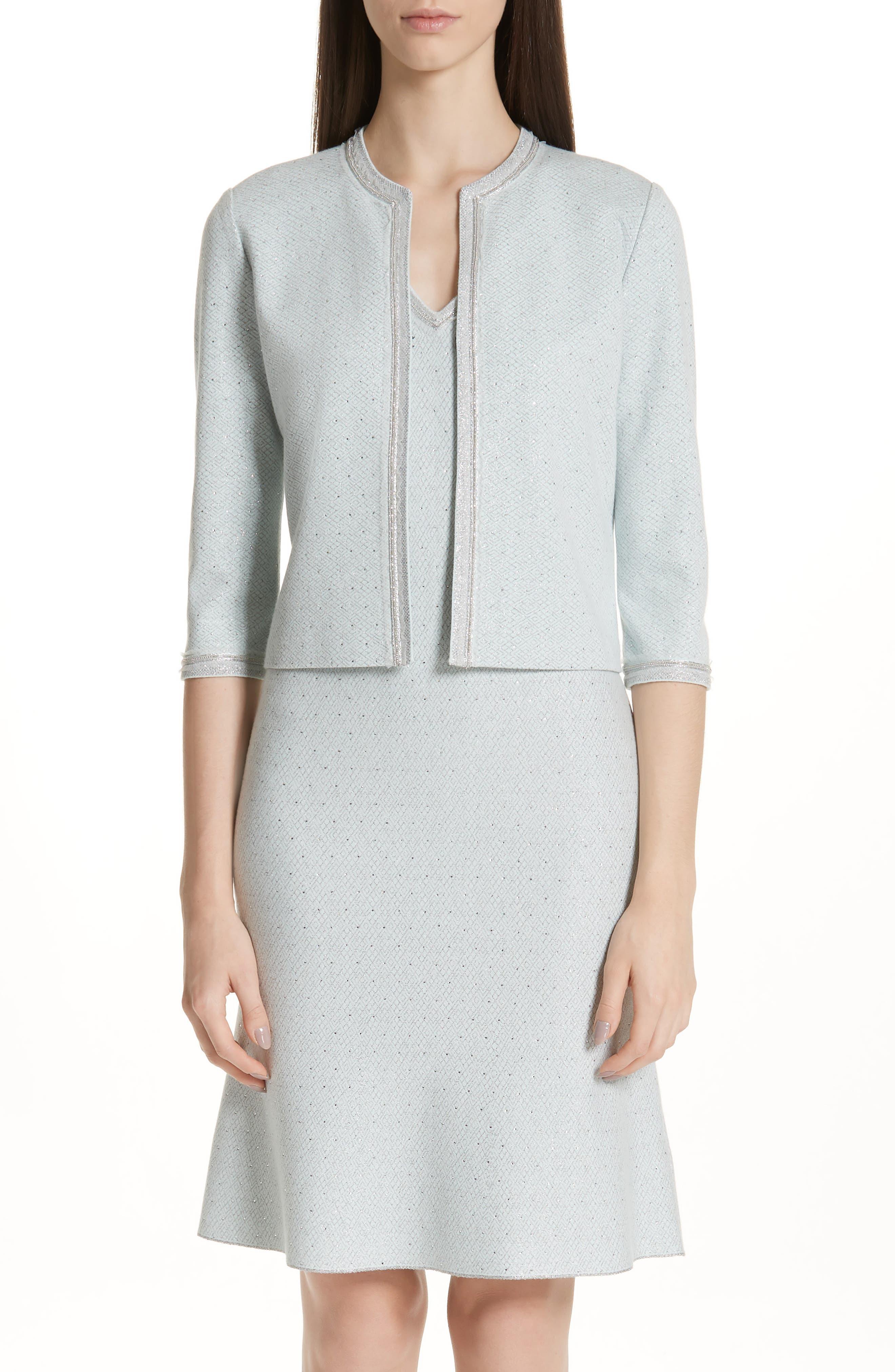 Anya Knit Jacket, Main, color, OPAL/ SILVER