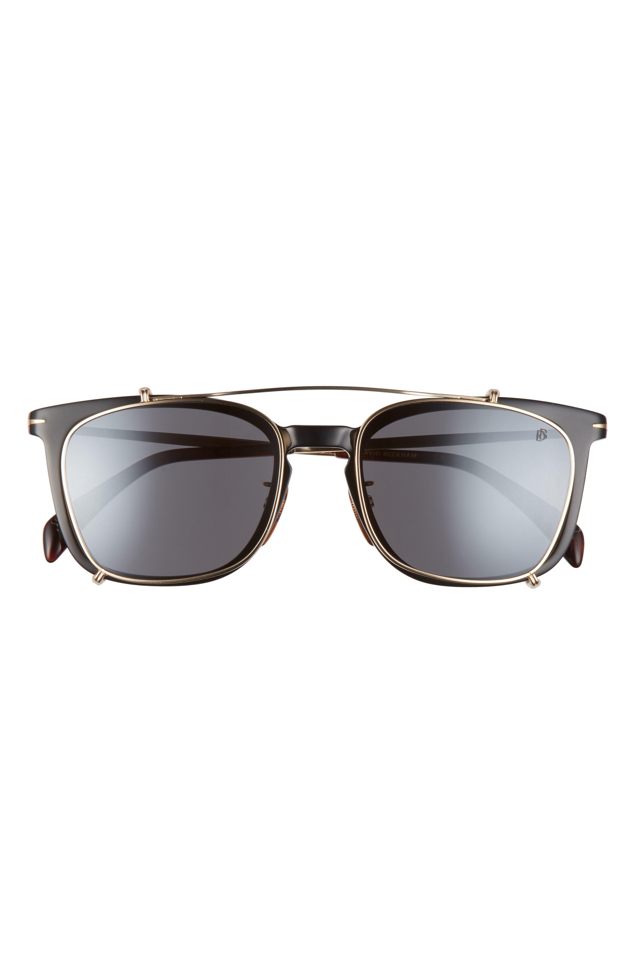 Men's Eyewear By David Beckham 53mm Rectangular Clip-On Sunglasses