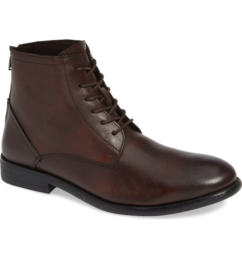 KENNETH COLE NEW YORK Chester Plain Toe Boot, Main, color, BROWN TUMBLED LEATHER